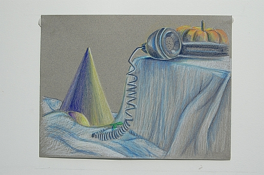 Intermediate drawing student, colored pencil on toned paper (Adult).