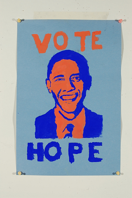 Middle School Student, Election day 2012 poster, 2-hour session, Tempera on construction paper (age 12). Instructor: Raymond Wong
