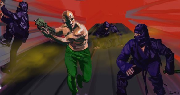Against the ninja! Digital painting inspired by Bad Dudes and the Miami Connection.