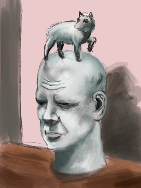 Wolf Head (Portrait of Jackson Pollock) by Robert Arneson. Ipad Sketch